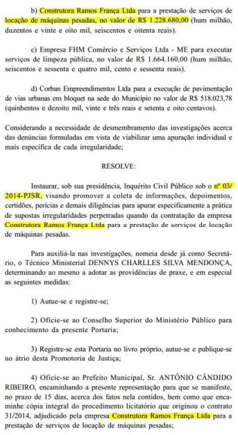 Supostas irregularidades levaram o MP a investigar  o contrato firmado entre a empresa de Walter França Júnior e a prefeitura de Santa Rita
