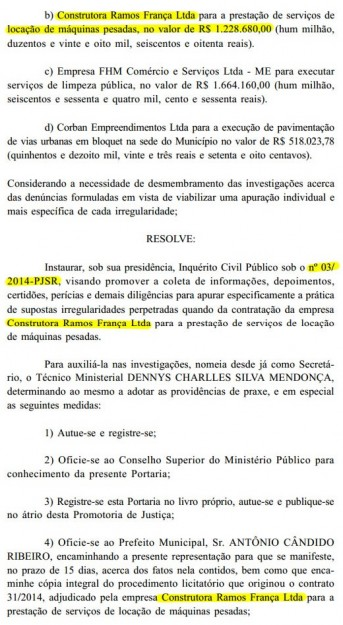 Suspeitas de irregularidades levaram o MP-MA a investigar  o contrato firmado entre a empresa de Walter França Júnior e a Prefeitura de Santa Rita