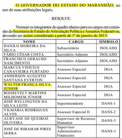 Trecho da nomeação de Walter Franca na Pasta comanda por Márcio Jerry