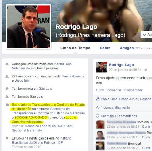 Perfil de Rodrigo Lago em uma rede social comprova que ele é sócio da Lago e Caminha Advogados