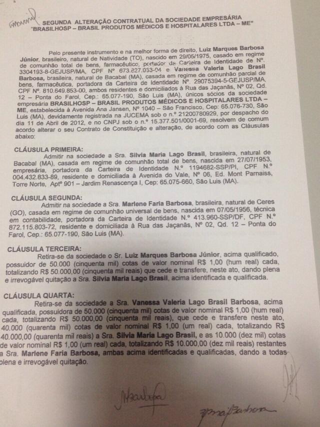 Documento mostra que superintende de Redes da Saúde transferiu seus poderes na Brasilhosp para a sogra e a mãe, próximo à condenação imposta pela TCE-MA