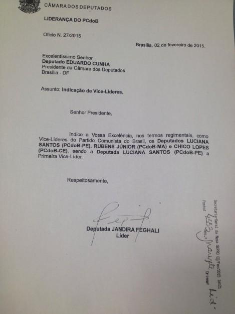Indicação de Rubens Jr. para a vice-liderança do PCdoB na Câmara dos Deputados