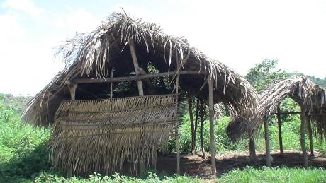 Barracos de palha serviam de alojamento para os trabalhadores