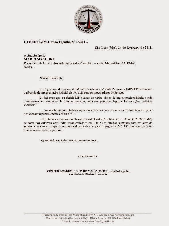 Acadêmicos de Direito da UFMA pedem que a OAB-MA se posicione pela impugnação da MP 185