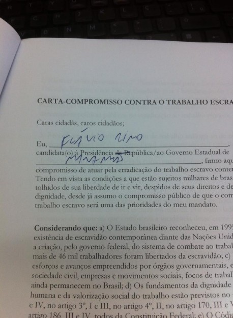 Cópia da carta-compromisso que Flávio Dino assinou, mas não cumpriu