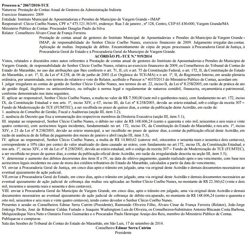 Acórdão PL-TCE n.º 919/2014 condenou Clécio Coelho a devolver dinheiro ao erário