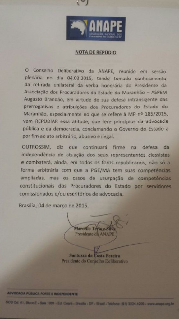 """Anape conclamou governo Dino """"a por fim ao ato arbitrário, abusivo e ilegal"""""""