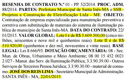 Resenha do contrato assinado entre a Prefeitura de Santa Inês e a SSB