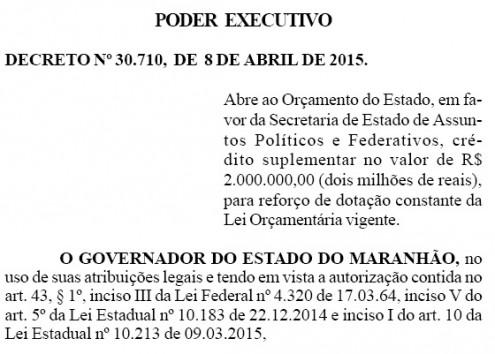 Decreto repassou R$ 2 milhões para Márcio Jerry dialogar com prefeitos e lideranças políticas