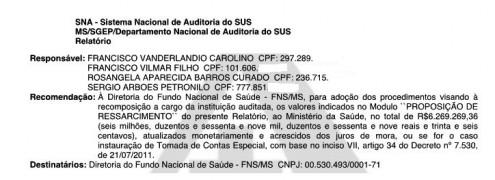 Em uma das folhas da auditoria, Denasus recomenda que Curado devolva mais de R$ 6 milhões aos cofres públicos