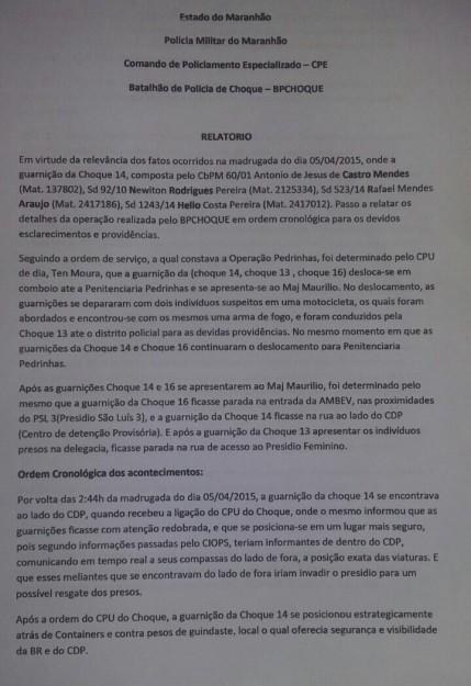 Relatório do CPE do Choque revela que detentos ainda continuam se comunicando por celular com quem está do lado de fora de Pedrinhas