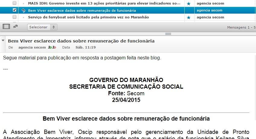 Governo Dino usou e-mail oficial para solicitar resposta a publicação sobre terceirizada e enfermeira amiga de Márcio Jerry