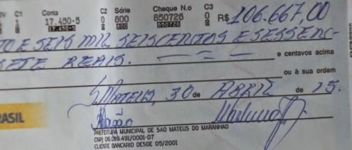 Cheque que estava em posse de Pacovan tem outra assinatura, além da feita pelo ex-tesoureiro da Prefeitura de São Mateus