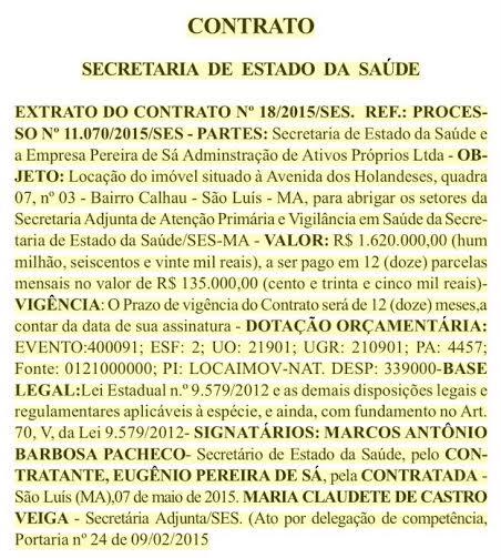Extrato de contrato de aluguel de prédio no Calhau por mais de R$ 1,6 milhões por ano diz uma coisa, mas Levi diz e ainda acrescenta outras...