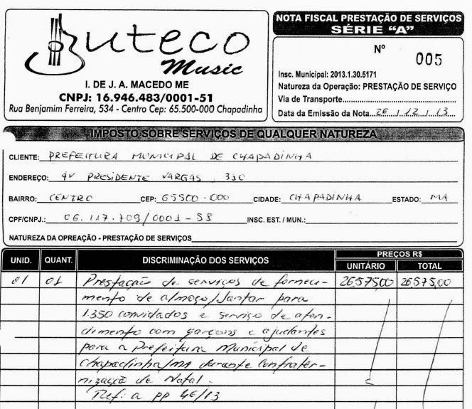 Nota fiscal da Buteco Music também comprova uso da verba da Prefeitura de Chapadinha com festa privada