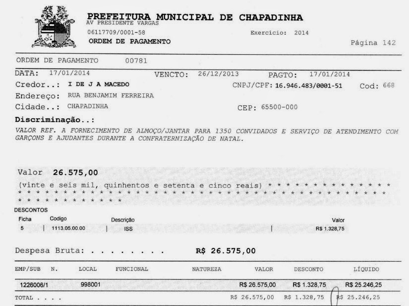 Dinheiro público da prefeitura de Chapadinha serviu para encher a pança de Belezinha e Aluízio, além de animar pinguços