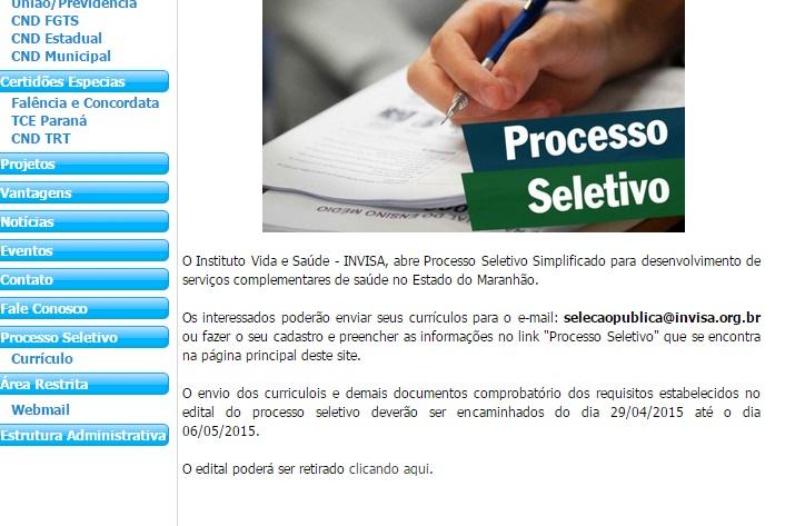 """Oscip do Rio de Janeiro """"abre"""" inscrições para processo seletivo mesmo ser ter sido contratada pelo governo. Ou foi?"""