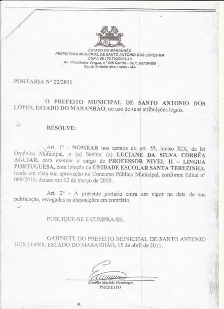 2ª Portaria de cargo de professor de Santo Antônio dos Lopes 2010