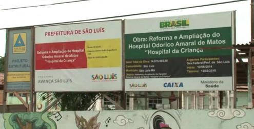Nova placa da reforma no Hospital da Criança mostra que investimento custará quase R$ 15 milhões