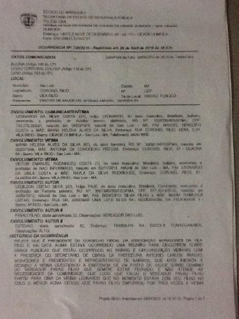 Documento relata ações de truculência praticadas pelo vereador Pavão Filho