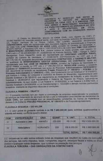 Contrato assinado entre o governo anterior e a PMR mostra que gastos de Flávio Dino com aeronaves é bem maior que os de Roseana Sarney em 2014 com o mesmo serviço