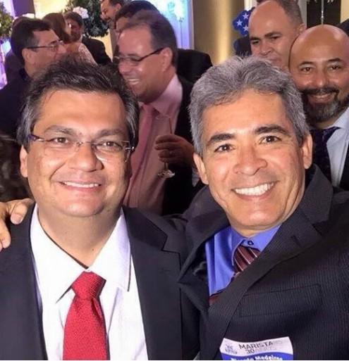O governador Flávio Dino e o garfador de contratos com o Estado, Ricardo Medeiros, marido de Valéria Lauande
