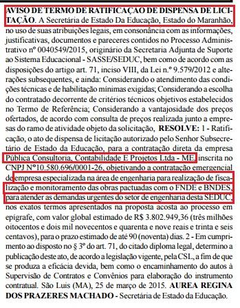 Termo de ratificação de dispensa de licitação esconde nome de Daniele Cunha na assinatura do contrato