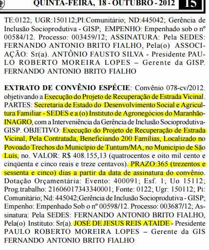 Extrato de Convênio assinado pelo próprio José Ataíde para execução de serviços de infraestrutura em um povoado fantasma de São Luís - e Tuntum