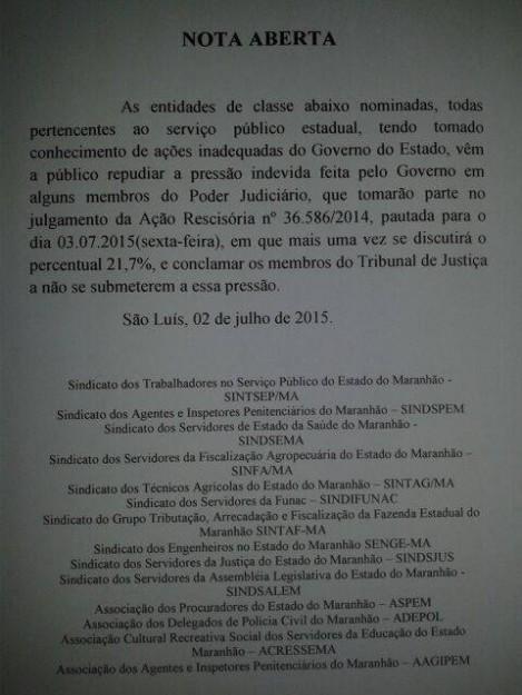 Entidades chegaram a emitir nota repudiando a ação do governador Flávio Dino contra os servidores públicos do Maranhão