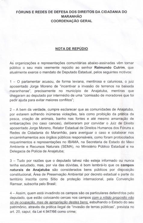 Trecho inicial da nota de repúdio ao deputado estadual Raimundo Cutrim, que que está apoiando grileiros em Anajatuba