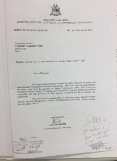 Ofício encaminhado ao delegado Augusto Barros mostra que denúncia de ocultação e suposto canibalismo não foi abafada por Sebastião Uchôa