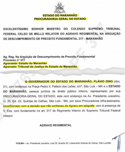 Governador se diz inconformado por STF não aceitar suas alegações contra o funcionalismo público do Maranhão