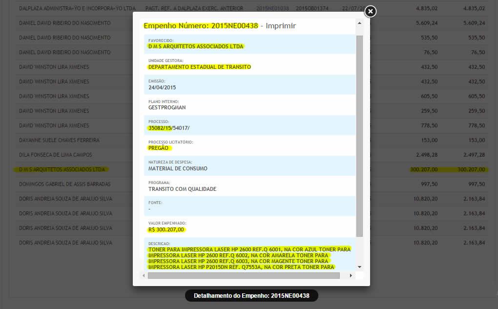 Empenho de pagamento do processo n.º 035082/2015, cujo contratada é a SLZ Empreendimentos, caiu na conta da DMS-Arquitetos e Associados