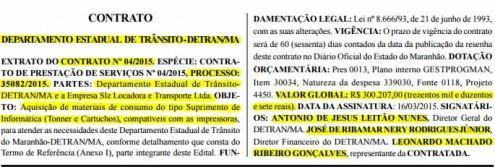 Extrato do contrato assinado entre o Detran-MA e locadora de máquinas e veículos para fornecimento de toners e cartuchos de impressora