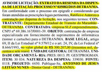 Extrato da dispensa de licitação para a contratação da mesma SLZ Empreendimentos, em duplicidade de publicação