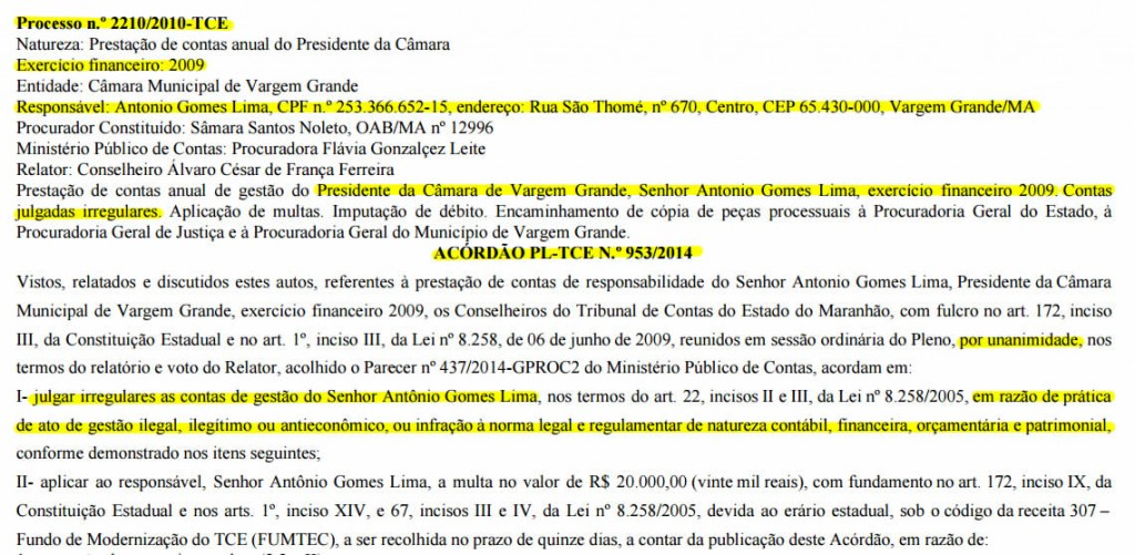Acórdão PL-TCE n.º 53/2014 condenou o ficha suja Toinho do Juvenil a devolver dinheiro ao erário