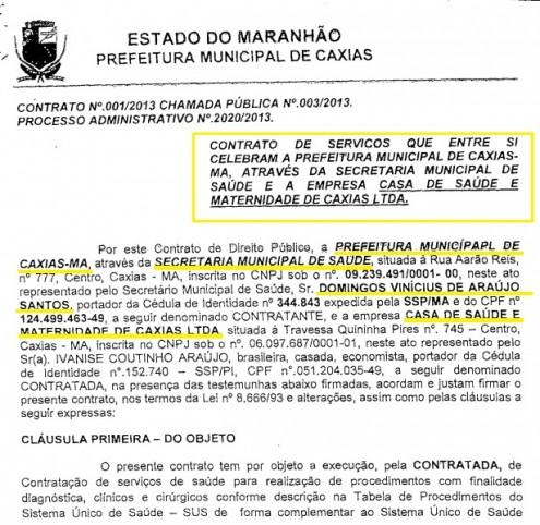 Trecho de cópia do contrato assinado entre Léo Coutinho e os outros Coutinhos, inclusive a esposa ficha suja do presidente da Assembleia, Humberto