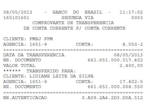Transferência de R$ 2.400,00 feita da conta da Prefeitura de Bom Jardim para a conta de Lidiane Rocha