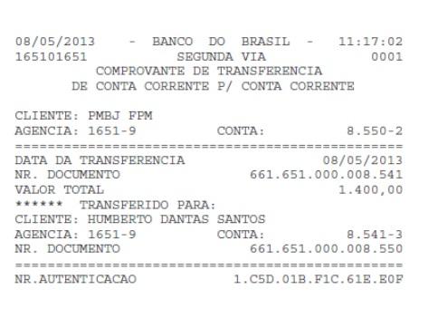 Transferência de R$ 1.400,00 feita da conta da Prefeitura de Bom Jardim para a conta de de Beto Rocha