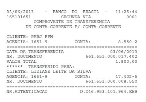 Transferência de R$ 1.800,00 feita da conta da Prefeitura de Bom Jardim para a conta de de Lidiane Rocha