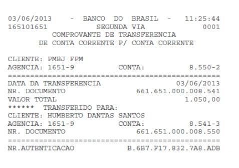 Transferência de R$ 1.050,00 feita da conta da Prefeitura de Bom Jardim para a conta de de Beto Rocha