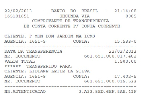 Transferência de R$ 1.500,00 feita da conta da Prefeitura de Bom Jardim para a conta de Lidiane Rocha