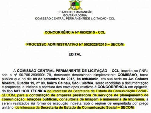 Trecho da licitação de R$ 6 milhões que o governador Flávio Dino vai gastar com assessoria de imprensa e consultoria de imagem