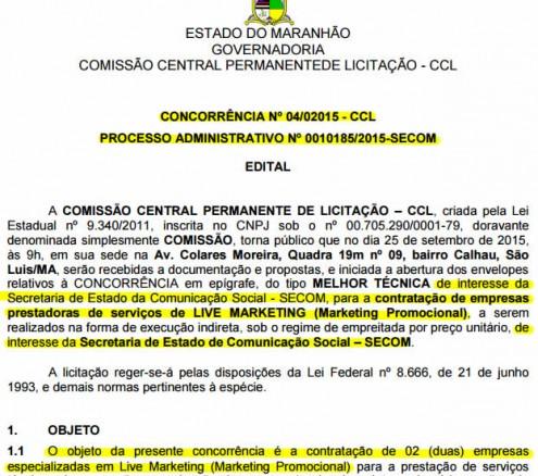 Trecho da licitação de R$ 10 milhões que o governador Flávio Dino vai gastar com marketing promocional