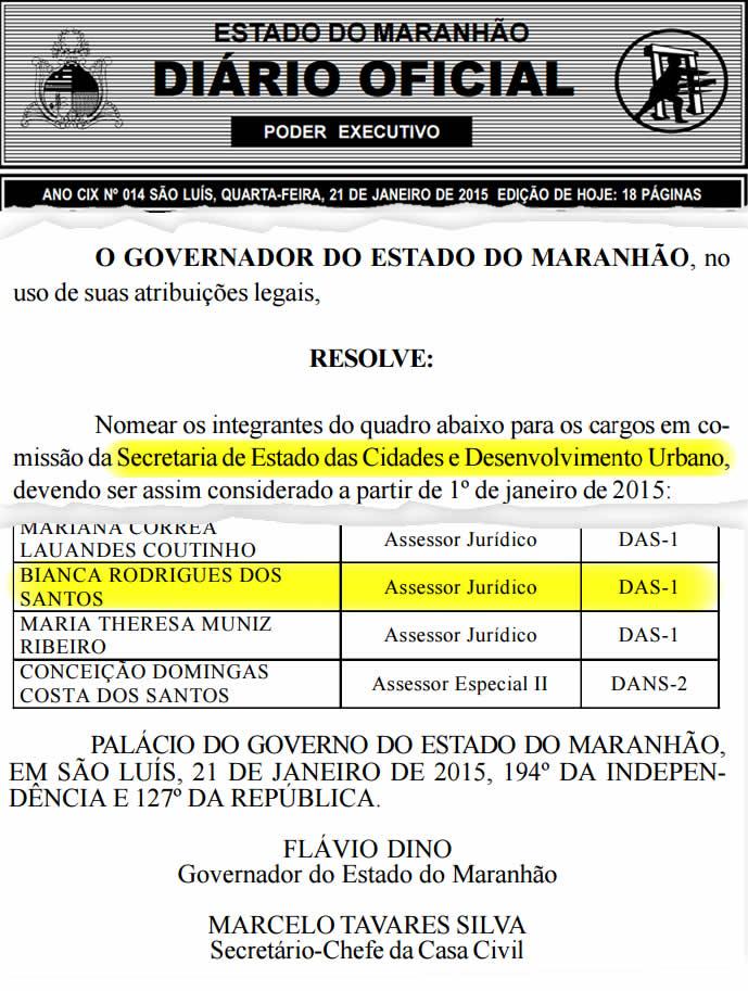 Bianca Rodrigues faz parte do governo Flávio Dino desde janeiro; emprego pode ter influenciado decisão de Osmar Gomes em decretar prisão de João Abreu