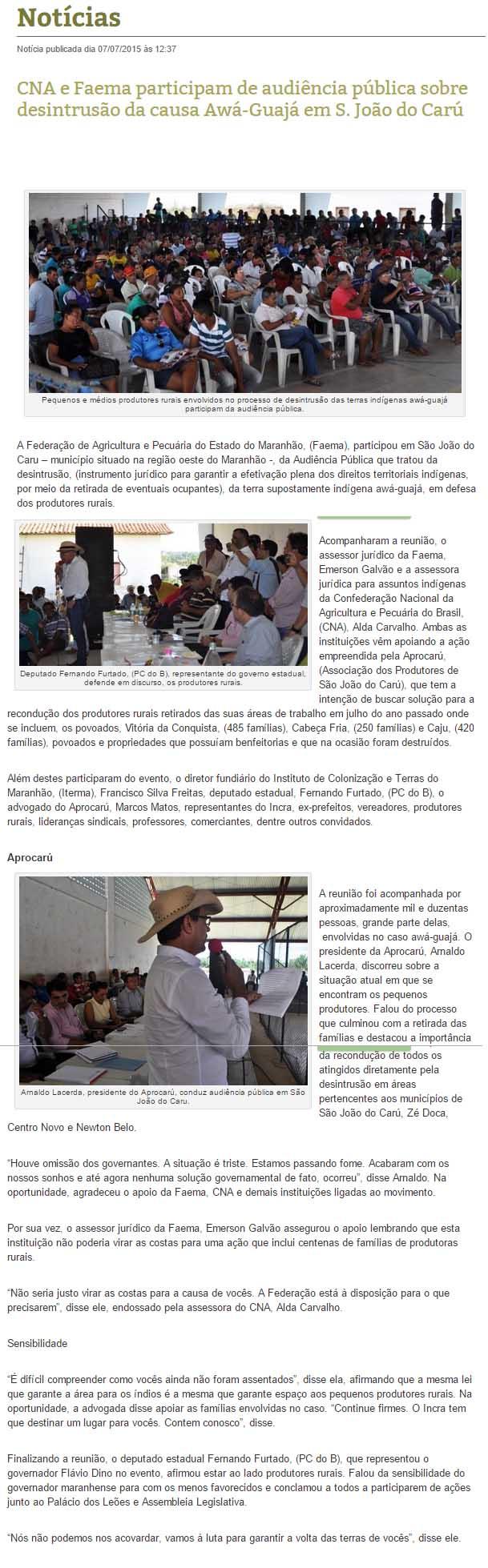 Print da íntegra da matéria que o auxiliar de Flávio Dino mandou excluir da página da Faema/Senar