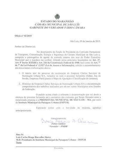 Documento mostra que o vereador Fábio Câmara tenta acesso a informações públicas sobre os contratos da Citeluz desde o início de janeiro