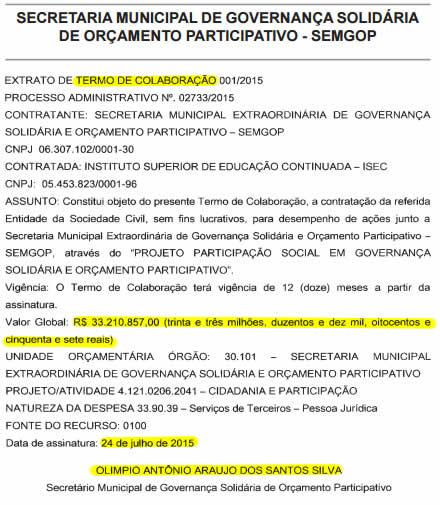 Extrato do Termo de Colaboração assinado por Olímpio Araújo com o Isec