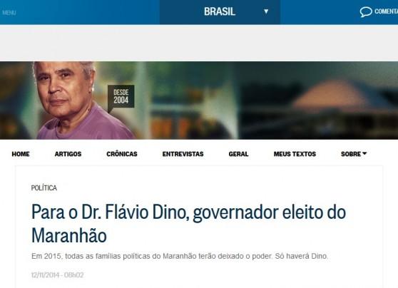 """Em artigo reproduzido no site de o Globo, onde mantém um blog, Noblat chama Flávio Dino de """"Dr."""""""