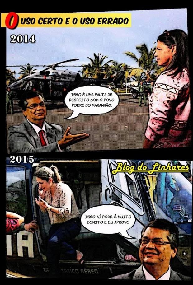 Charge de Linhares Júnior mostra de forma clara o que Flávio Dino pensava sobre o uso do helicóptero do GTA no governo Roseana e como pensa agora, em seu governo
